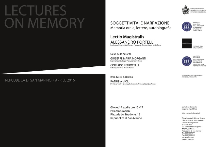 Cartolina Lecture on memory 2016