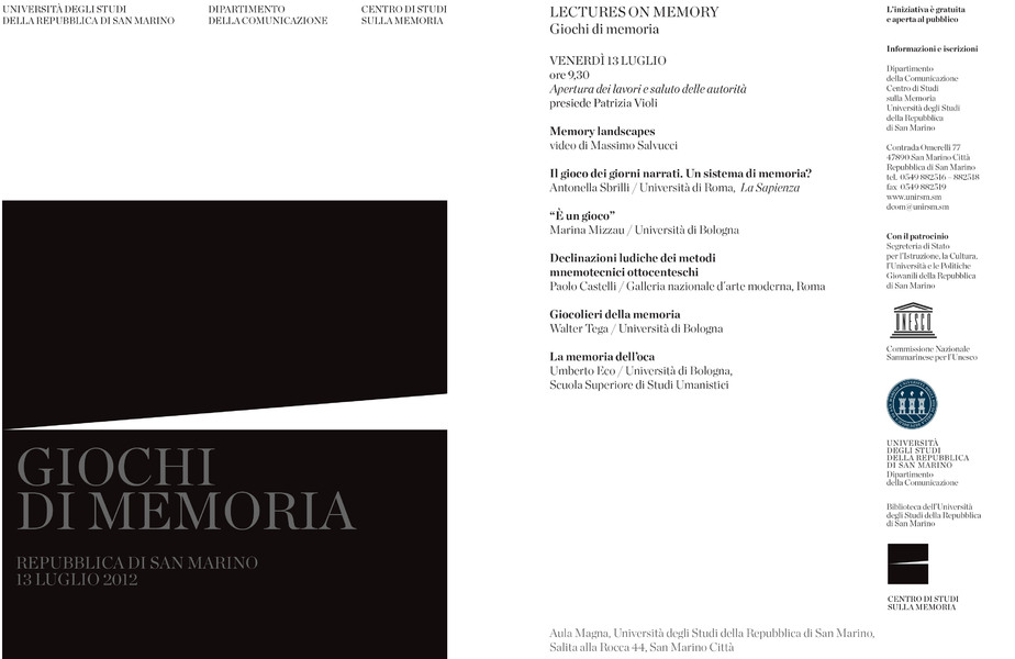 Cartolina Lecture on Memory 2012